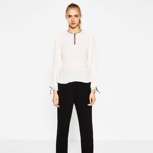 Zara Blouse with Contrast Piping